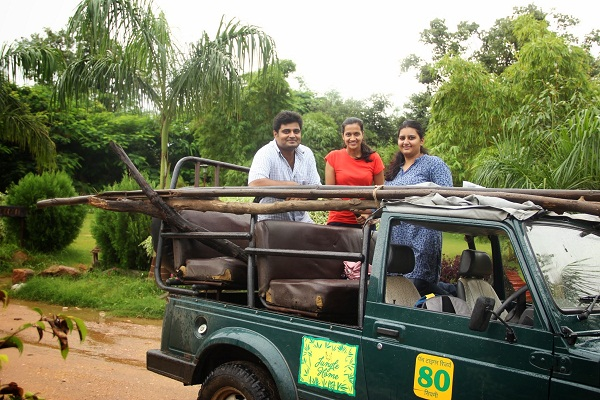 Our organic experts Pulkita Parsai and Ankit Pogua and our program coordinator Pooja Choksi gathering materials for the shed come rain or sunshine!