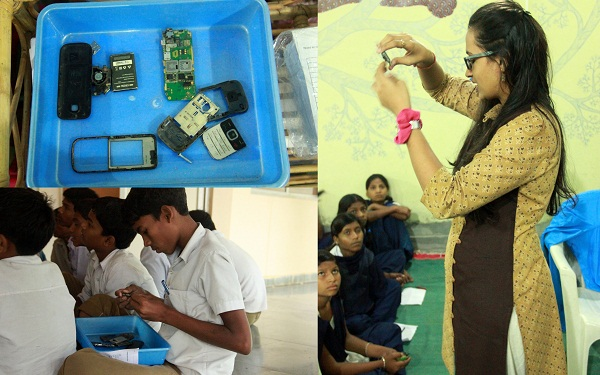 Analyzing the parts of a cell phone in the E-Base. (Image: Jash Koradia)