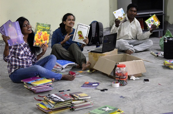 With so many boxes of books making their way to Pench, organizing was the order of the trip. (Image: Monica Szczupider)