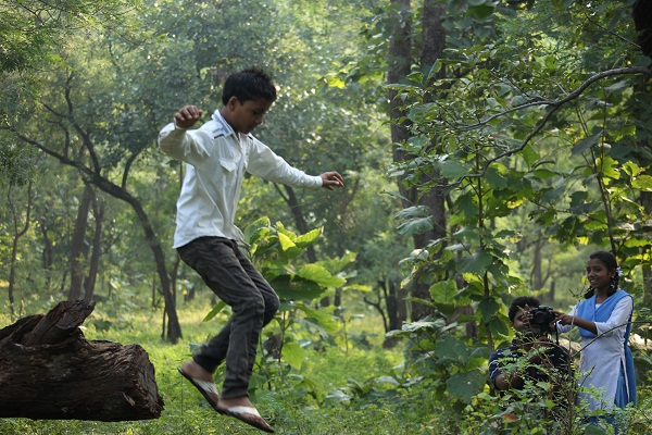 Having fun and creating their film in the forest of Pench.
