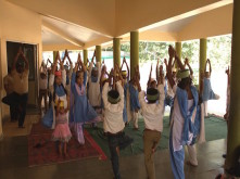 Trying to maintain different yoga asanas had the students giggling all through the workshop.